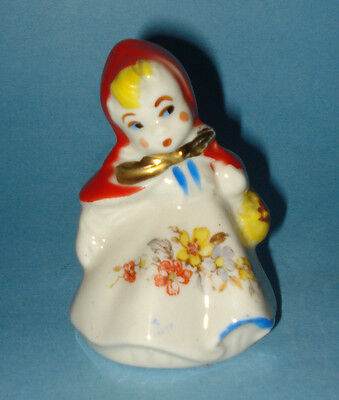 "Vintage HULL Figural RED RIDING HOOD GIRL SALT / PEPPER SHAKER 3.5"" Pottery MINT"