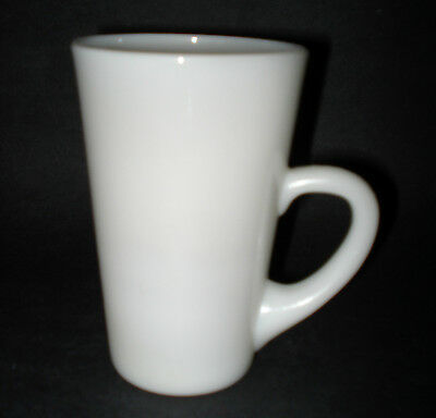 "Fire King Era 1950s MILK GLASS COFFEE MUG Cafe Latte TALL CUP Low ""C"" HANDLE VTG"