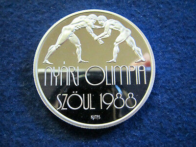 1987 Hungary Gem Silver Proof 500 Forint - Wrestlers - Free U S Shipping