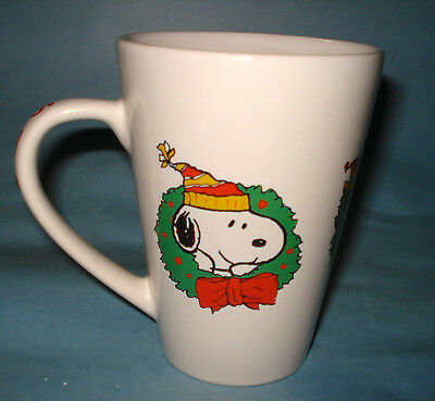 PEANUTS Snoopy Charlie Brown Woodstock XMAS WREATH COFFEE MUG TEA LATTE CUP 2012