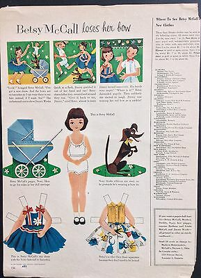 Vintage Betsy McCall Mag. Paper Dolls, Betsy McCall Loses her Bow, May 1954