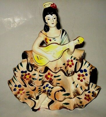 "11"" VTG Ceramic SPANISH FLAMENCO FIGURE Lady Musician Girl Guitar Woman JAPAN"