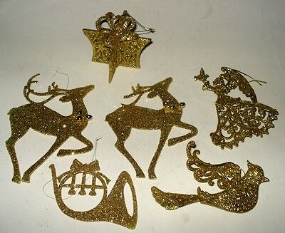 6 GOLD GLITTER LACE Xmas Tree 3D ORNAMENTS Plastic Reindeer Angel Tuba Gift Dove