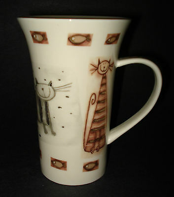 Gold Silver Metallic Cat COFFEE MUG TEA LATTE CUP Fish Trim Flower Handle STOKES