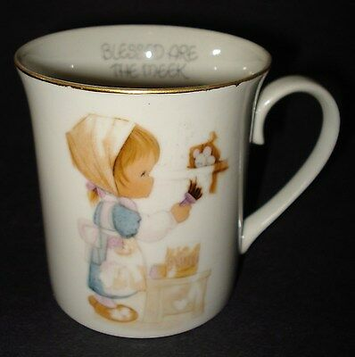 Precious Moments 1978 CERAMIC COFFEE MUG Tea Cup BLESSED ARE THE MEEK Japan VTG