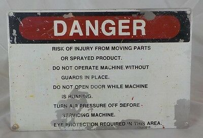 Vintage Danger Risk Of Injury From Moving Parts Original Tin / Metal Sign