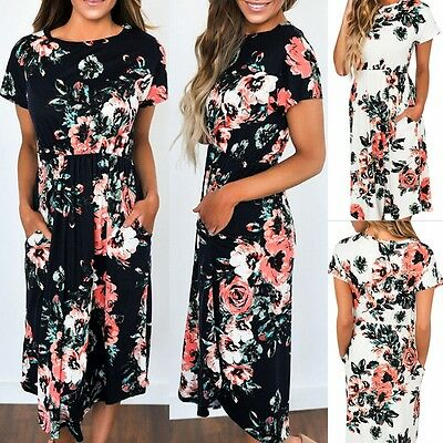 Womens Floral Short Sleeve Ladies Maxi Long Summer Print Beach Dress Size 10-18
