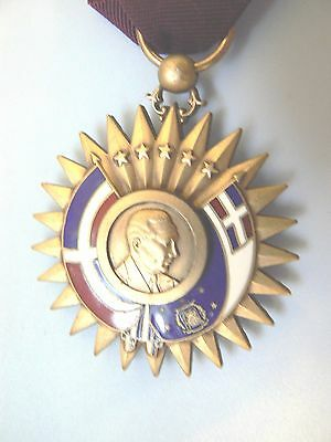 DOMINICAN REPUBLIC LONG SERVICE MEDAL,LARGE ENAMELED GOLD GILT, 1930s, very rare