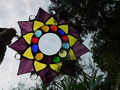 Leaded Stained Glass Sun Catcher  Flower Hanging purple & yellow  #23