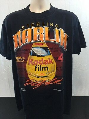 Vintage 1997 Sterling Marlin #4 NASCAR Black T Shirt Size XL