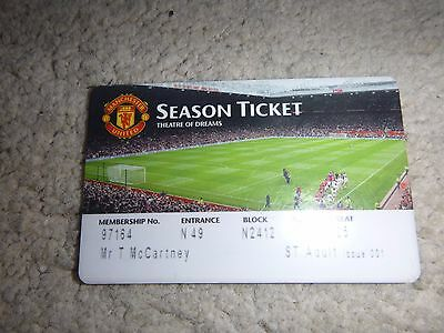 Manchester United Season Ticket Early / Mid 2000's