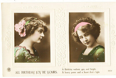 Vintage embossed greetings postcard All Birthday Joy Be Yours with 2 girls. 9059