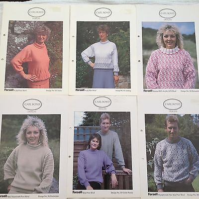 Carl Boyd Knitting Machine Patterns Set of 6 Designs FREE POSTAGE UK BUYERS  A