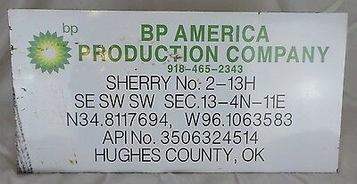 "Vintage BP America Production Co. 24"" x 12"" Original Tin / Metal Sign Gas / Oil"