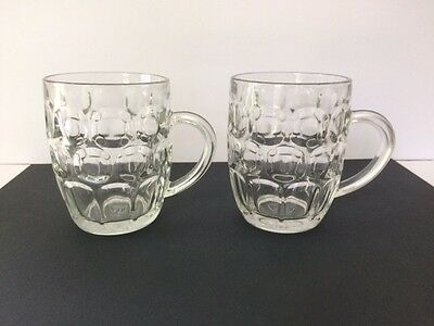 Pair of RAVENHEAD GLASS Made in England DIMPLE LARGE PINT BEER MUGS