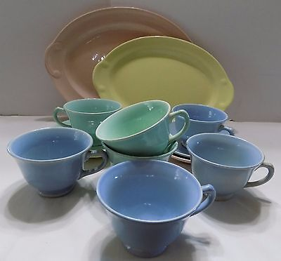 Lor Of Vtg Luray Pastel Dishes 2 Oval Platters Cups Saucers (R9)