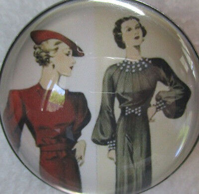 """1 3/8"""" Women Dressed In Vintage Dresses & Hats~Acrylic Dome Metal Picture Button"""