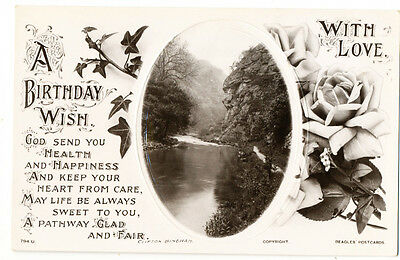 Antique 1913 Beagles embossed greetings postcard A Birthday Wish With Love
