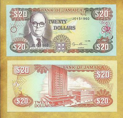 Jamaica 20 Dollars 1995 P-72e Unc Currency Banknote ***USA SELLER***