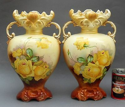 Pair of Antique Staffordshire Pottery VASES ~ Floral Yellow Roses ~ 13.75""