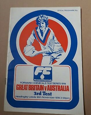 Great Britain v Australia 3rd Test Series 1978 Rugby League Programme 18/11/78