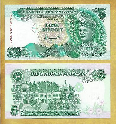 Malaysia 5 Ringgit P-35A Prefix QV Unc Currency Banknote ***USA SELLER***