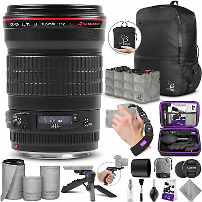 Canon EF 135mm f/2L USM Lens 2520A004 with Essential Accessories Bundle