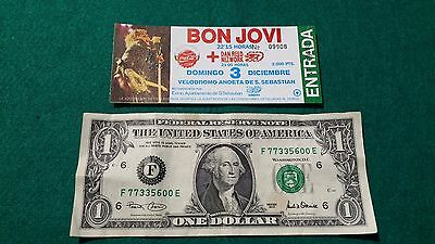 UNUSED Ticket Rare    BON JOVI  Dan Reed Network   FREE SHIPPING