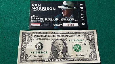 UNUSED Ticket Rare    VAN MORRISON    2005  FREE SHIPPING