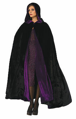 Adult Reversible Black and Purple Cloak  Witch Gothic Cosplay LARP