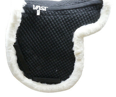 REAL Sheepskin Thick Wool Dressage Saddle Pad Fleece Bottom GNF-WT-BK Z20