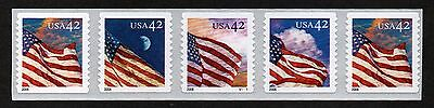 Usa, Scott # 4244-4247 (4247A), Strip Of 5 Stamps Pnc5 # V1111 American Flags
