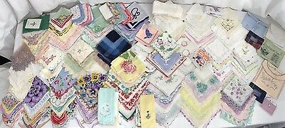 222PC Vintage Hankies Hanky LOT Floral Lace Embroidery Tatted Crochet NO FLAWS