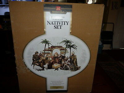 Large Member's Mark Hand-Painted Porcelain Nativity Set With Box