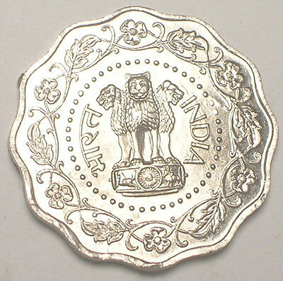 1971 India Indian 10 Paise Three Lions Scalloped Coin VF+