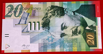 Israel New 20 Sheqalim Uncirculated UNC Paper Money Currency Banknote