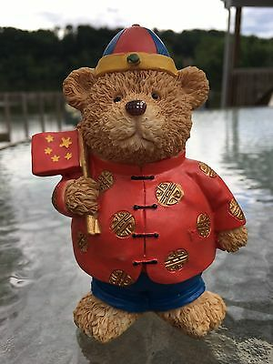 Resin Bear Figurine With Chinese Flag