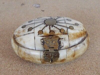 Oval bone Trinket box with Brass inlay 9.5cm x 6.5cm