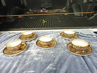 5 Meiji Period Satsuma Tea Cups With Saucers