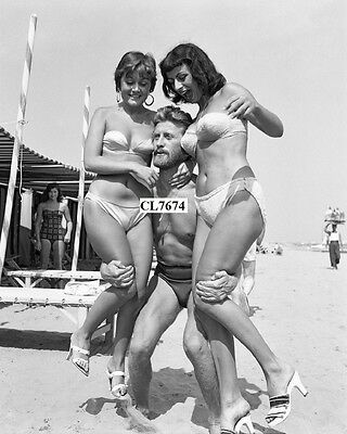Kirk Douglas Wearing a Swimming Suit with Novella and Parigini Lilly Greco Photo