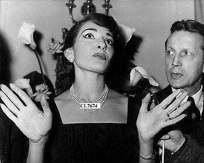 Maria Callas with Monsieur Favre-Lebret at a Press Conference in Paris Photo