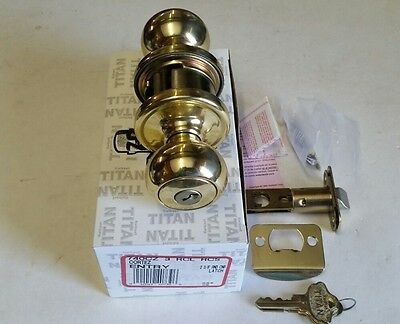Kwikset Titan 740 CZ Cortez Entry Lockset US 3 Bright Brass