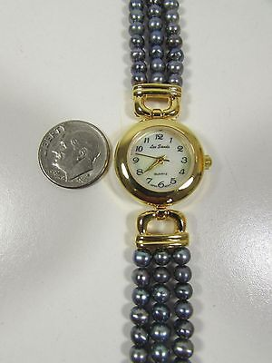 """Lee Sands MOP Watch Face w Peacock Grey Pearls 1/2"""" band """"VINTAGE"""""""
