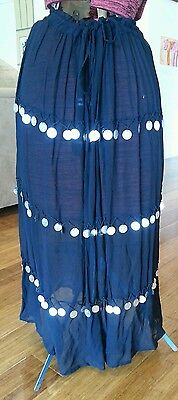 Black belly dance skirt with coin embellishment