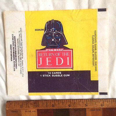 Scanlens 1983 Star Wars Jedi Wax Bubble Gum Card Wrapper Darth Vader Rotj Vgc!