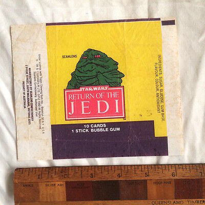Scanlens 1983 Star Wars Jedi Wax Bubble Gum Card Wrapper Jabba The Hutt Rotj Vgc