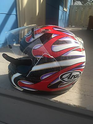 Arai rocket M2000 Red silver Black motorcycle helmet-full face sz M L