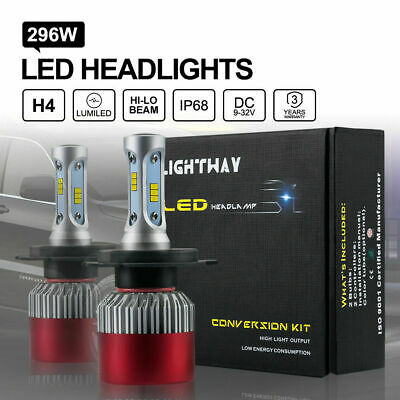 296W H4 LUMI LED Headlights KIT Bulbs Hi-Lo Beam 29600LM vs Halogen Xenon