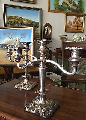 Beautiful Vintage Silver Plated 3 Arm Candelabra Made England.
