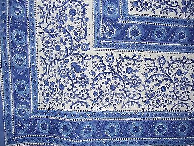 "Rajasthan Block Print Cotton Tablecloth 90"" x 60"" Blue"